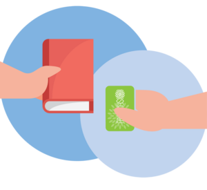 Person with library card and a book